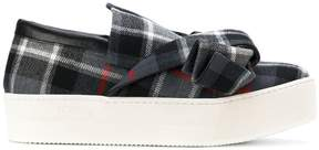 No.21 checked bow slip-on sneakers