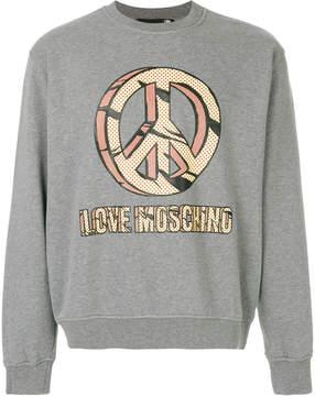 Love Moschino peace slogan sweatshirt