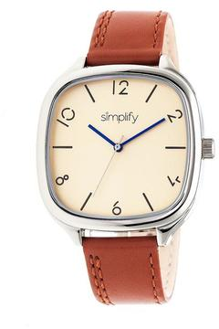 Simplify The 3500 Collection SIM3505 Square-Shaped Silver Analog Watch