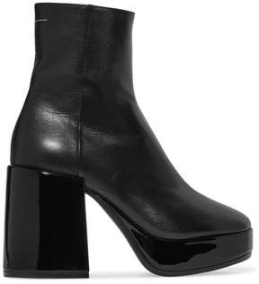 MM6 MAISON MARGIELA Leather Platform Ankle Boots - Black