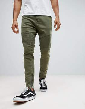 Pull&Bear Carrot Fit Biker Jeans In Khaki