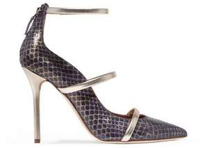 Malone Souliers Metallic Leather-Trimmed Elaphe Pumps