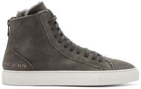 Common Projects Woman by Grey Shearling Tournament High Sneakers