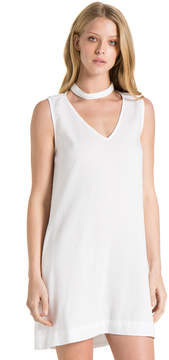 Bella Dahl Choker Neck Dress-White-XS