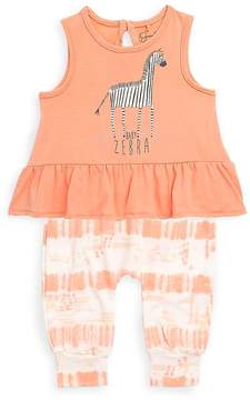 Jessica Simpson Baby Girl's Two-Piece Zebra Top and Printed Pants Set - Light/Pastel Orange, Size 0-3 mo