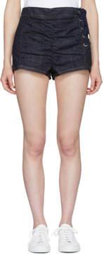 Carven Indigo Lace-Up Ruched Denim Miniskirt