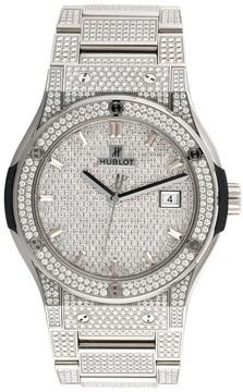Hublot Classic Fusion Titanium Diamond Pave Dial 42mm Mens Watch