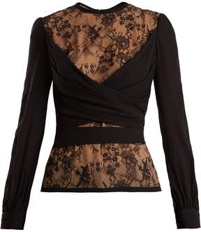 Elie Saab Lace-insert silk-blend wrap top