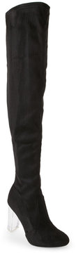 Wild Diva Black Blossom Lucite Heel Over The Knee Boots