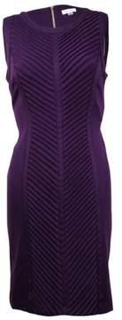 Calvin Klein Women's Sleeveless Pleated Sheath Dress (8P, Aubergine)