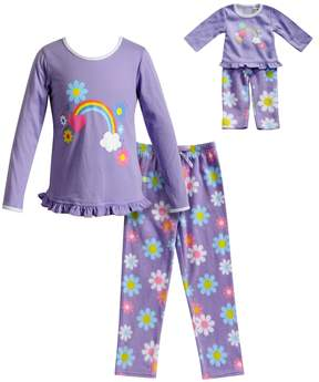 Dollie & Me Girls 4-14 Flower & Rainbow Top & Fleece Bottoms Pajama Set