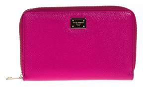 Dolce & Gabbana Zip Around Leather Wallet Medium - PINK - STYLE