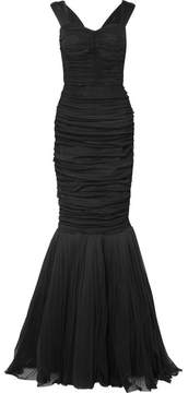 Dolce & Gabbana Ruched Silk-tulle Gown - Black