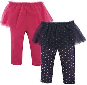 Hudson Baby Black & Pink Heart Print Tutu Leggings Set - Newborn & Infant