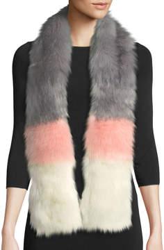 Neiman Marcus Striped Faux-Fur Stole