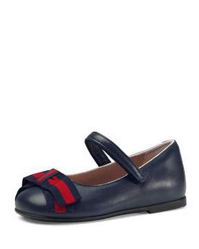 Gucci Leather Ballet Flat w/ Web Bow, Toddler