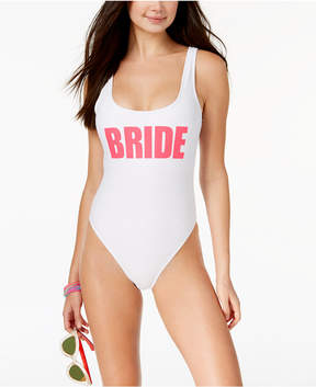 California Waves Juniors' Bride Graphic One-Piece High-Leg Swimsuit, Created for Macy's Women's Swimsuit