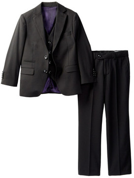 Isaac Mizrahi Three Piece Textured Gingham Suit Set (Little Boys & Big Boys)