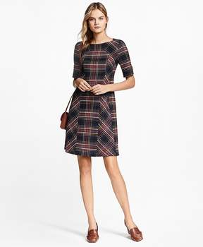 Brooks Brothers Plaid Double-Faced Wool-Blend Dress
