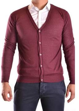 Hosio Men's Burgundy Cotton Cardigan.