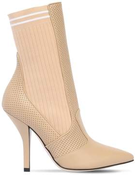 Fendi 105mm Leather & Knit Ankle Boots