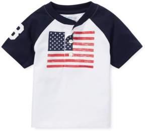 Ralph Lauren | Cotton Jersey Graphic Henley | 18-24 months | White