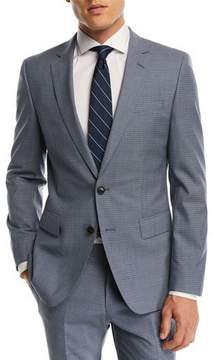 BOSS Huge Genius Small Windowpane Two-Piece Wool Suit, Blue
