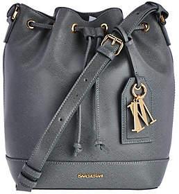 Isaac Mizrahi Live! Signature Saffiano LeatherBucket Handbag