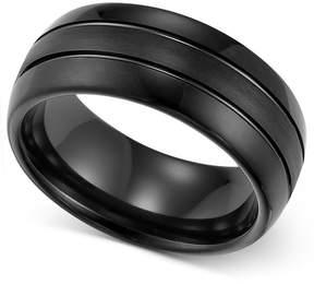 Triton Men's Ring, 8mm Black Tungsten 3-Row Wedding Band
