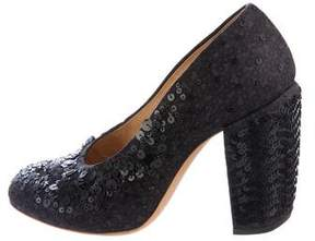 Dries Van Noten Sequined Round-Toe Pumps