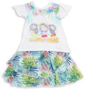 Petit Lem Baby's Two-Piece Paradise Printed Top & Skirt Set