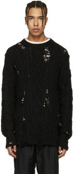 Miharayasuhiro Black Distressed Cable Knit Sweater