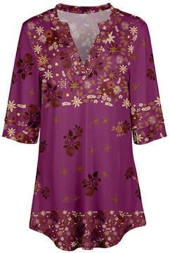 Azalea Pink & Rust Floral V-Neck Tunic - Women & Plus