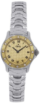 Ebel Wave 18K Yellow Gold and Stainless Steel Diamond Bezel 23mm Womens Watch