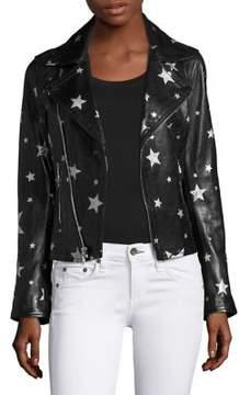 RtA Nico Starred Raven Leather Biker Jacket