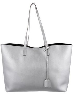 Saint Laurent Large Shopper Tote - SILVER - STYLE