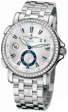 Ulysse Nardin GMT Big Date Silver Dial Stainless Steel Diamond Automatic Men's Watch 243-55B-7-91