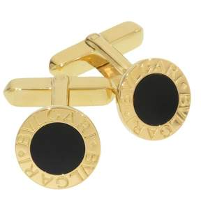 Bulgari 18K Yellow Gold BB Onyx Cufflinks