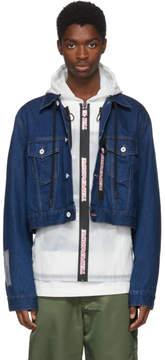 Off-White Blue Layered Hooded Denim Jacket