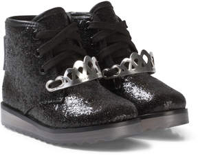 Sophia Webster Mini Black Glitter Silver Crown Wiley Royaly Boot with Light-Up Soles