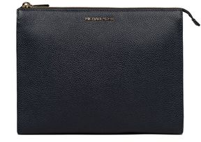 Michael Kors Blue Mercer Hammered Leather Clutch - BLUE - STYLE