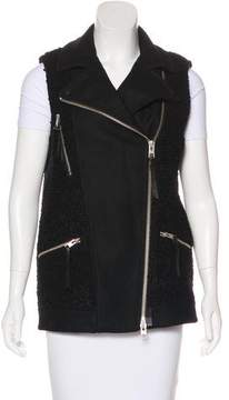AllSaints Leather-Trimmed Wool Vest