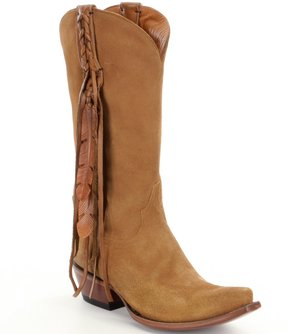 Lucchese Tori Western Suede Braided Pull Strap Leather Lace Block Heel Boots