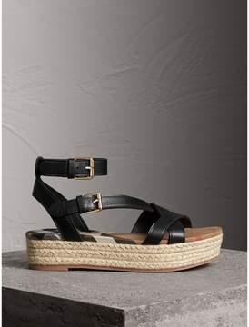 Burberry Leather and House Check Espadrille Sandals