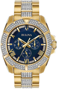 Bulova Men's Crystal Dress Gold-Tone Stainless Steel & Crystal-Accent Bracelet Watch 44mm