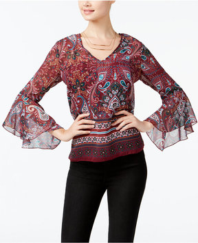BCX Juniors' Bell-Sleeve Lace-Up Top