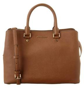 MICHAEL Michael Kors Savannah Large Leather Satchel. - TAN - STYLE