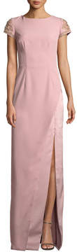 David Meister Crepe Column Gown w/ Beaded Sleeves