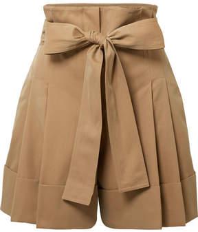 Alexander McQueen Belted Pleated Cotton-gabardine Shorts - Sand
