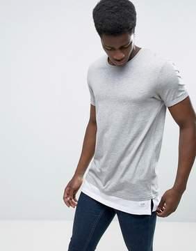 Esprit Long Line T-Shirt with Drop Hem Detail
